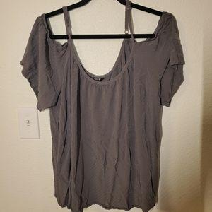 TORRID Grey Blouse Plus Size 2x Cold Shoulder
